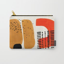 Mid Century Modern Abstract Minimalist Retro Vintage Style Fun Playful Ochre Yellow Ochre Orange  Carry-All Pouch