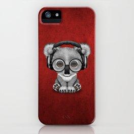 Cute Baby Koala Bear Dj Wearing Headphones on Red iPhone Case