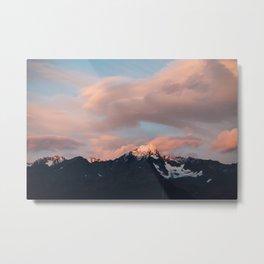 Alaskan Mountain Sunset (Pink) Metal Print