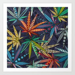 boho weed midnight Art Print