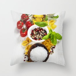italian pasta with vegetables, herbs, spices, cheese and olive oil Throw Pillow