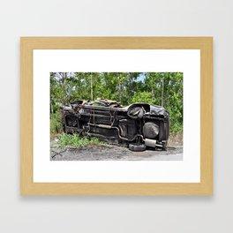 Flipped Car - New Orleans, Louisiana Framed Art Print