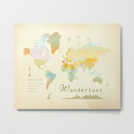 Wanderlust Vintage World Map Art Print Metal Print