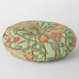 Bird And Pomegranate Wallpaper Design Floor Pillow