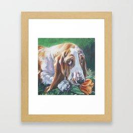 Beautiful Basset Hound dog portrait art an original painting by L.A.Shepard Framed Art Print