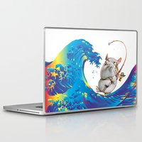 hokusai Laptop & iPad Skins featuring Hokusai Rainbow & Hippopotamus Fishing  by FACTORIE