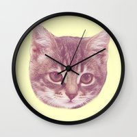 kitten Wall Clocks featuring Kitten  by Freak Clothing