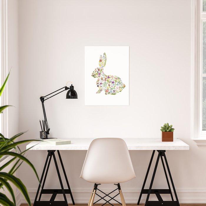 Springtime Flower Bunny Poster
