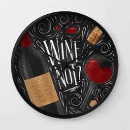 Wine not black Wall Clock