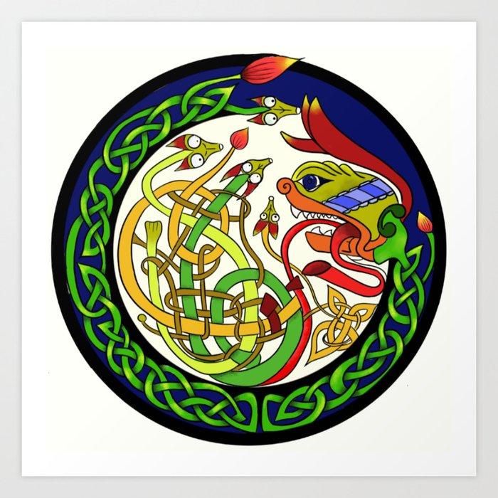 Celtic Knot Dragon Mandala Art Print