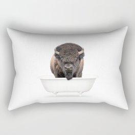 Buffalo in a Vintage Bathtub (c) Rectangular Pillow