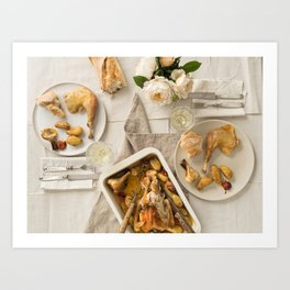 Vintage festive table for two Art Print