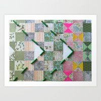 Abstract Mixed Media Quilt Pattern Collage Art Print