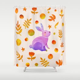 Abstraction_Rabbit_Wonderland_Floral_001 Shower Curtain