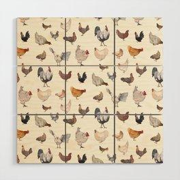 Chicken Happy on Cream Background Wood Wall Art