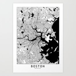 Boston Black and White Map Art Print