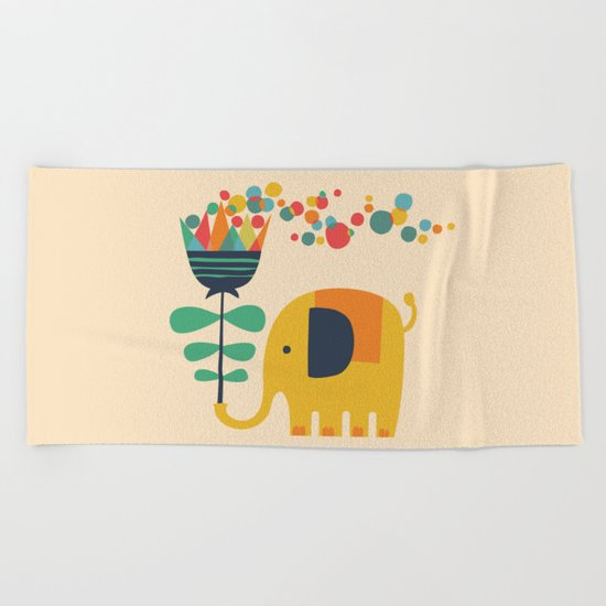 Elephant with giant flower Beach Towel