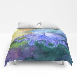 Octopus in the Reef Watercolor Comforters