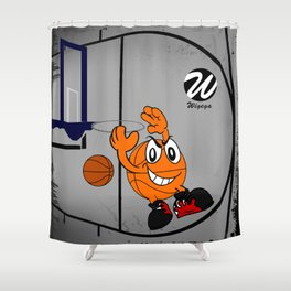 Basketball Cartoon Character Performing a Flying Pass Shower Curtain