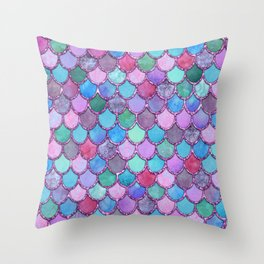 Colorful Pink Glitter Mermaid Scales Throw Pillow