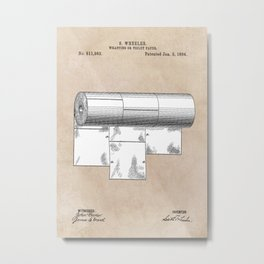 patent art Wheeler Wrapping of toilet paper 1894 Metal Print