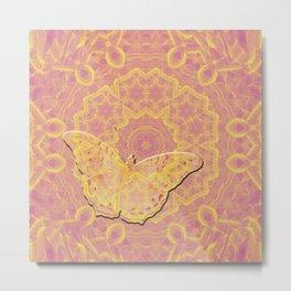 embossed butterfly on mandala Metal Print