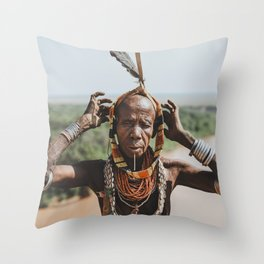 Karo Tribeswoman IV Throw Pillow