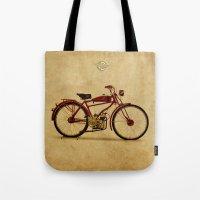 ducati Tote Bags featuring Ducati 1950 - Classic bike by Larsson Stevensem