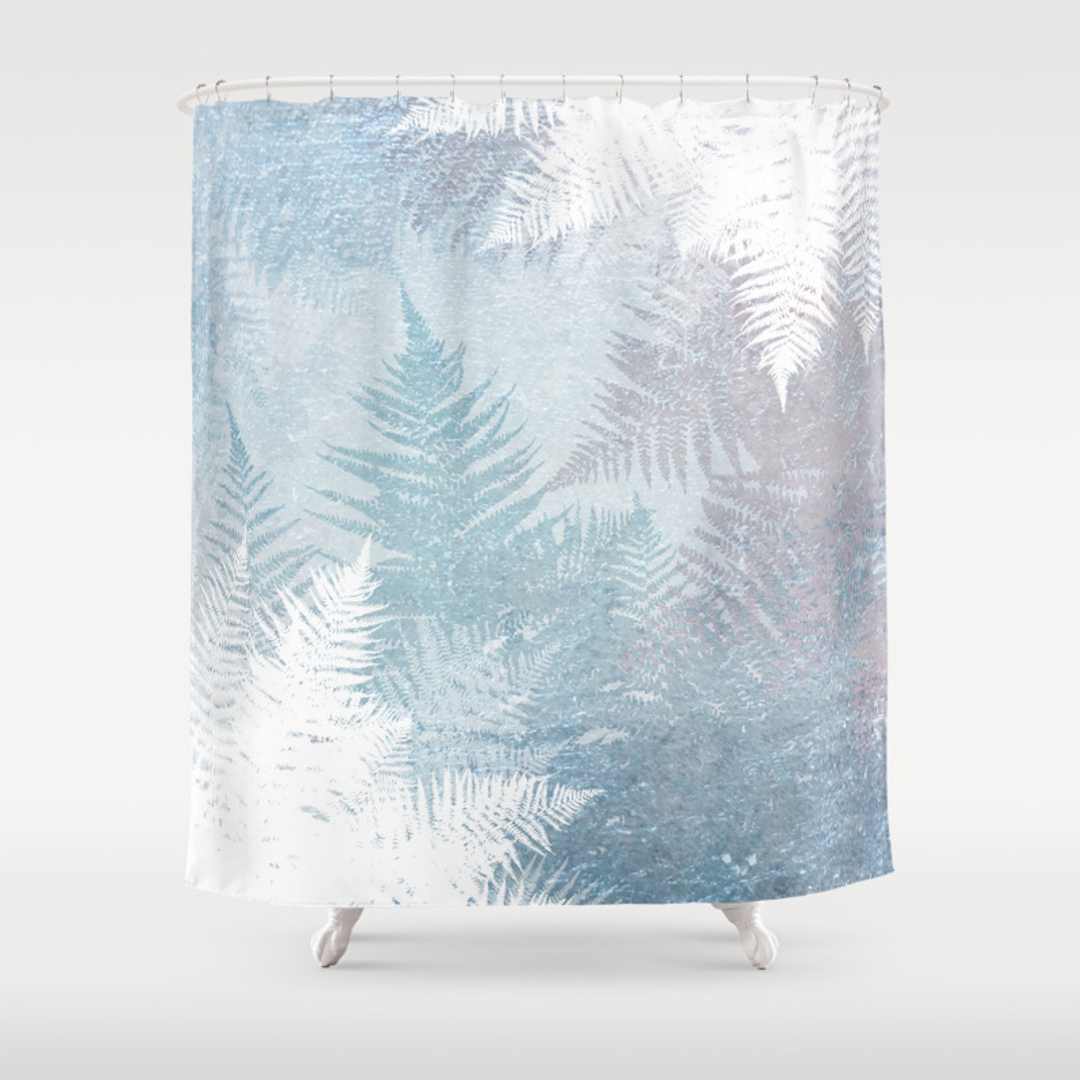 Blue and Snowflakes Shower Curtains | Society6