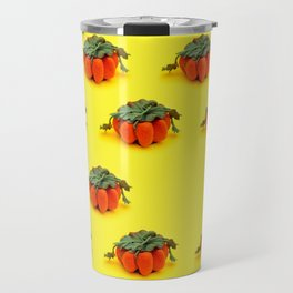 Collage of handmade pumpkins made from felt wool to celebrate Halloween Travel Mug