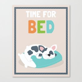 Time for Bed cute illustrated children's bathroom art print with puppy character design Canvas Print