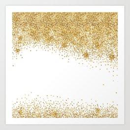 Sparkling golden glitter confetti effect Art Print