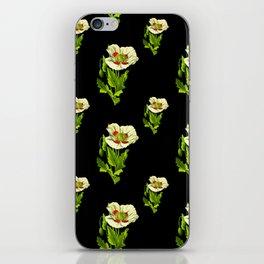 Yellow poppy flowers pattern on black iPhone Skin