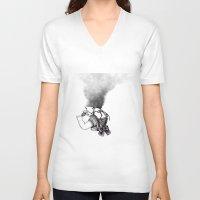 lip V-neck T-shirts featuring lip girl by 2headedsnake