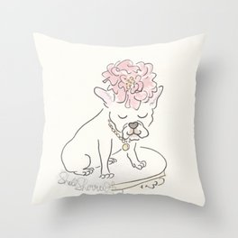 French Bulldog Flower Power : Fashion and Fluffballs Throw Pillow