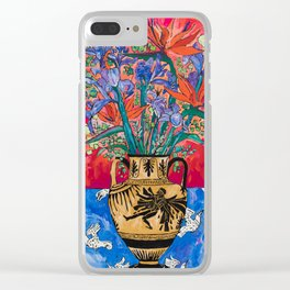 Icarus Floral Still Life Painting with Greek Urn, Irises and Bird of Paradise Flowers Clear iPhone Case