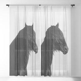 Black beauty Friesian stallion Sheer Curtain