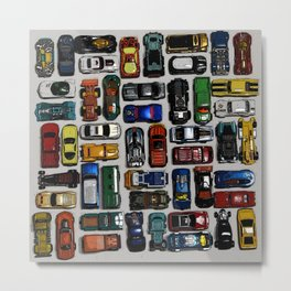 Toy cars pattern Metal Print