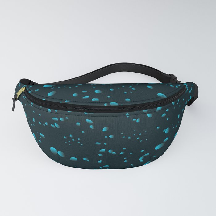Heavenly iridescent drops and petals on a black background in nacre. Fanny Pack
