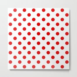 Polka Dot Texture (Red & White) Metal Print