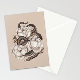 Snake and Peonies Stationery Cards