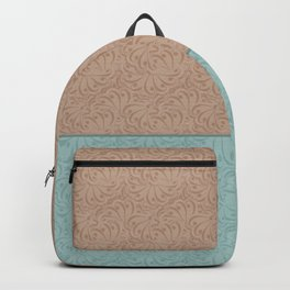 Combo beige turquoise abstract pattern . Backpack