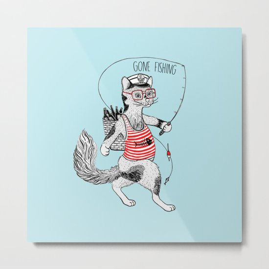 Cat gone Fishing Metal Print