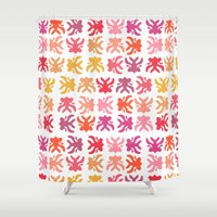 swimming Shower Curtains featuring Swimming by Robin Gayl