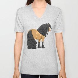Buckskin Gypsy Vanner Draft Horse Unisex V-Neck