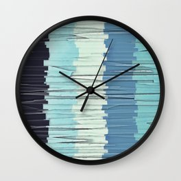 Blue Stripes Abstract Wall Clock