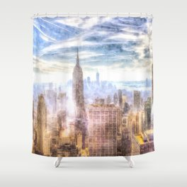 New York Manhattan Skyline Art Shower Curtain