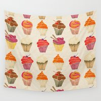 cupcakes Wall Tapestries featuring Cupcakes by Cat Coquillette