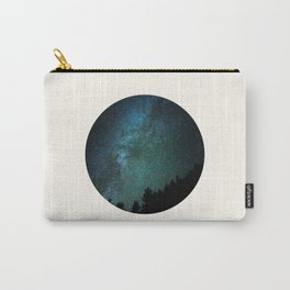 Mid Century Modern Round Circle Photo Milky Way Galaxy Blue Green Star Night Sky Carry-All Pouch