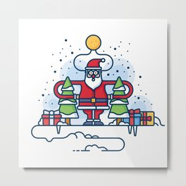 Santa obeys the Moon Metal Print